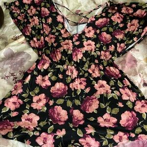 Floral romper, WITH POCKETS